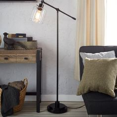 Make a bold lighting statement with this classically attractive CANVAS Quinn Floor Lamp. The industrial design makes this fixture a standout with its cool, clea Decor, Lamp, Cabin Decor, Rustic Floor Lamps, Decor Inspiration, Lamps Canada, Floor Lamp Canada, Canvas Home, Home Wallpaper