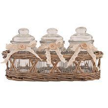 Pretty basket with glass jars