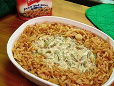 Classic Green Bean Casserole Hi Meghan, The recipe is straight off the can of French's French Fried Onions. I searched for this on /images Greenbean Casserole Recipe, Casserole Recipes, Vegetable Dishes, Vegetable Recipes, Classic Green Bean Casserole, Green Bean Casserole Easy Thanksgiving, Thanksgiving Recipes Side Dishes Green Beans, Campbells Green Bean Casserole, Al Dente