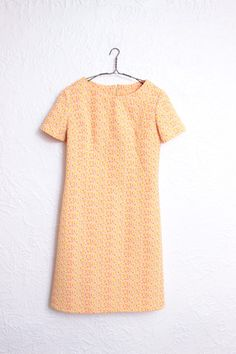 Vintage Adorable Sixties Shift Everyday Little Orange Dress, Very Audrey Hepburn, Edie Sedgwick, Fits Like a 6
