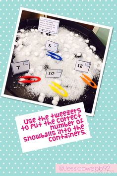 Using tweezers to count the correct number of a snowballs into the containers…