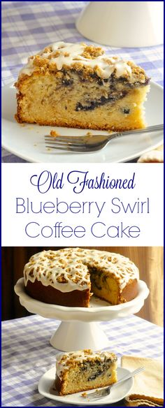 Blueberry Swirl Coffee Cake - A moist buttery coffee cake swirled with blueberry jam, then topped with a crumb streusel and a drizzle of vanilla glaze.