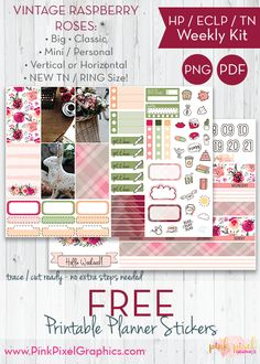 Free Printable Vintage Raspberry Roses Weekly Planner Stickers {subscription required}. See more at www.pinkpixelgraphics.com
