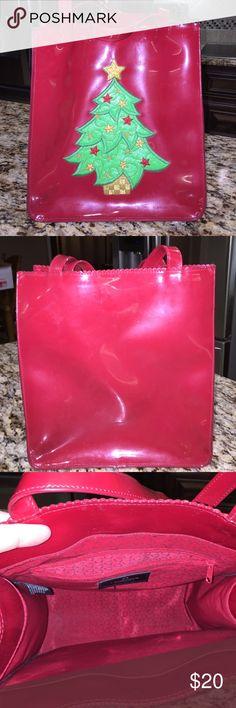 VINTAGE Liz Claiborne vinyl Christmas purse Very cute and festive.  Liz Claiborne Bags