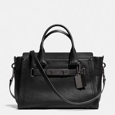 Coach Swagger Carryall ($550) ❤ liked on Polyvore featuring bags, handbags, black, cell phone crossbody bag, coach purses, coach bags, cell phone cross body and pebbled leather handbag