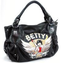 Betty Boop® classic shoulder bag w/ front zip pockets and sequin accents - FREE SHIPPING