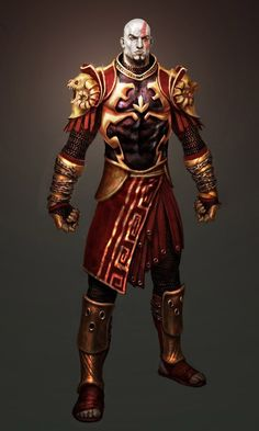 View an image titled 'Kratos in God Armor Art' in our God of War II art gallery featuring official character designs, concept art, and promo pictures. Kratos God Of War, Character Concept, Character Art, Character Design, New Gods, Fantasy Warrior, Orc Warrior, Video Game Art, Deities