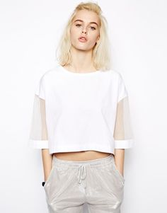 Pippa Lynn Luxe Boxy T-Shirt with Organza Sleeve