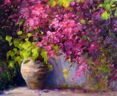 Bugambilia en el jardin. Pintura al oleo.