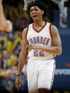 Oklahoma City's Cameron Payne (22) reacts after a basket during an NBA basketball game between the Oklahoma City Thunder and the Denver Nuggets at Chesapeake Energy Arena in Oklahoma City, Saturday, Jan. 7, 2017. Photo by Bryan Terry, The Oklahoman