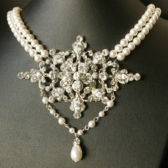 Rhinestone Pearl Necklace, Vintage Bridal Jewelry, Y Drop Pendant, MARIANNE Collection