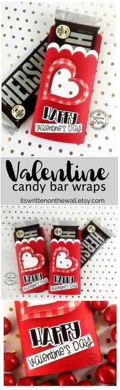 Valentine Candy Bar Wraps make great gifts for friends, co-workers-employees, teachers and more. Hershey chocolate bar wrappers, Valentine Party Favors