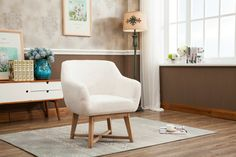 The linen fabric accent arm chair is the perfect addition for your living space. Its effortless style and unique chenille upholstery makes it refreshingly modern and classy. The accent arm chair displays a pleasant convertible design with a strong wooden frame, ensuring maximum support and durability. The flared arms headrest provides both design and comfort.