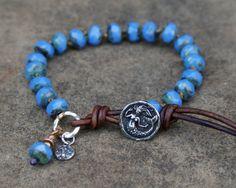 Rustic Cornflower knotted bracelet  boho leather by Mollymoojewels, £32.00
