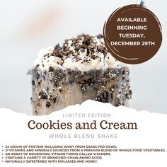 try this seasonal protein shake in cookies and cream. Limited time. Buy Isagenix protein shake today. Isagenix 30 Day Cleanse, Cookies And Cream, Protein Shakes, Superfood, Healthy Choices, Whole Food Recipes, Plant, Meals, Desserts