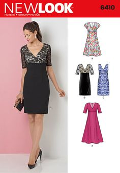 Misses' dress with faux wrap bodice has options for slim skirt, lace bodice with half sleeves and sleeveless all in lace and flared skirt in two lengths with half or short sleeves.