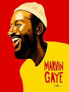 Marvin Gaye / Musician / Illustration by Francisco Javier Olea Clothing Company, Apparel Company, Funk Bands, Designer Sportswear, Marvin Gaye, Record Collection, Soul Music, Funny Faces, Wall Art