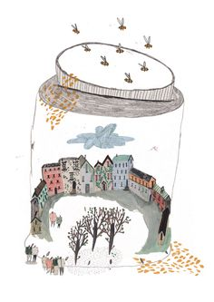 Amyisla Mccombie, Editorial illustration for a piece of writing talking about the problems with honey pot locations and tourist villages! Art And Illustration, Editorial Illustration, Illustrations Posters, Illustration For Children, Buch Design, Design Art, Art Plastique, Art Inspo, Painting & Drawing