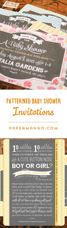 Inspired by vintage typography posters and bold, colorful patterns, these baby shower invitations set the tone for an elegant yet fun soirée. #papermango #babyshower #invitations