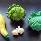 Felt Vegetables IV - Lettuce Cabbage Artichoke Yellow Squash Cauliflower (Patterns and Instructions via Email)