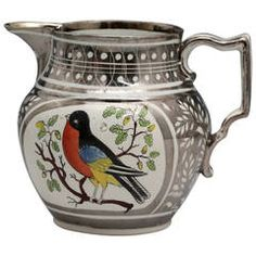"""Antique English pottery silver lustre pitcher """" Robin"""" early 19th century"""