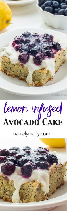 A delicious, moist cake, this Lemon Avocado Cake is made with avocados, lemons and poppy seeds and is topped with a blueberry sauce.