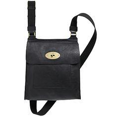 Buy Mulberry Antony Messenger Across Body Handbag, Black online at JohnLewis.com - John Lewis