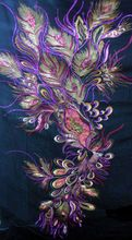 127cm by 38cm Gorgeous Peacock Feather Eye Motif Embroidered Sequin Applique Fabric Purple tone on Black for Dressmaking BB 519(China (Mainland))