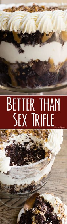 Ooey gooey deliciousness that's easy to make - Better Than Sex Trifle | Spring | Holiday | Dessert | #partydessert #holidaydessert #trifle #chocolatedessert
