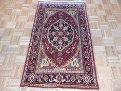 3 x 5  Hand Knotted Brick Red/Black Serapi Heriz Oriental Rug on Etsy, $149.00