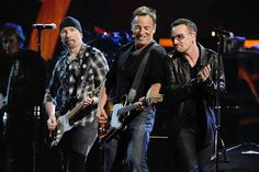 The Edge, Bruce Springsteen and Bono perform at the 25th Anniversary Rock & Roll Hall of Fame Concert at Madison Square Garden in New York City.