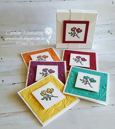 "Carussell Crafts: Sue's 3"" x 3"" cards."