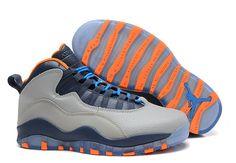 faad3ff0e6c Air Jordan 10 X Retro Bobcats Wolf Grey Orange Blue Cheap Sneakers