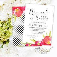 Brunch and Bubbly Shower Invitation - Hot Pink Flowers Red Flowers Black and White Polka Dots Calligraphy Font Bridal Shower PRINTABLE by SimplySocialDesigns on Etsy https://www.etsy.com/listing/259326894/brunch-and-bubbly-shower-invitation-hot