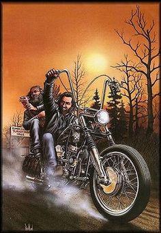 Turkey Run by David Mann Harley Davidson Kunst, Harley Davidson Tattoos, Harley Davidson Wallpaper, Harley Davidson Chopper, Hd Vintage, Photo Vintage, Vintage Biker, Motorcycle Art, Bike Art