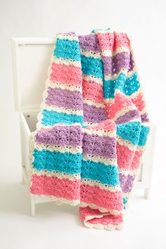 Caribbean Shells Afghan - The calming oceanic colors flow together to form a perfect beachy afghan. From I Like Crochet's August 2014 issue