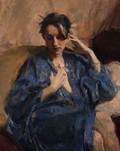 """""""Blue Kimono"""" - Ron Hicks (b. 1965), oil on canvas {figurative #expressionist art female seated robed woman cropped painting} ronhicks.com"""