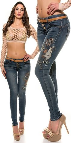 Pantalon jeans strass broderie à fleurs Koucla & ceinture