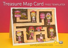 Sandy Allnock Treasure Map Card using Clearly Besotted Pirate Party Stamps