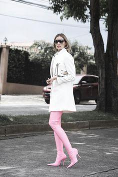 Pink high heel thigh boots