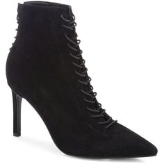 KENDALL + KYLIE Liza Suede Lace-Up Point-Toe Booties (1.595 NOK) ❤ liked on Polyvore featuring shoes, boots, ankle booties, apparel & accessories, black, faux suede booties, black suede bootie, black boots, lace up booties and short black boots