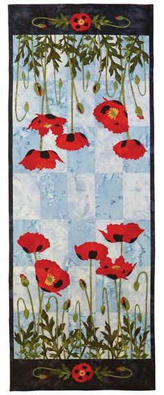 Poppies table runner pattern by Dana Verrengia at Wildfire Designs Alaska online store to get patterns Table Runner And Placemats, Table Runner Pattern, Quilted Table Runners, Quilt Art, Quilting Projects, Quilting Designs, Flower Quilts, Small Quilts, Mug Rugs