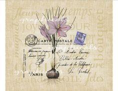 Purple crocus Carte Postale French wording burlap by graphicals