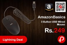 Amazon #LightningDeal is offering 72% off on AmazonBasics 3 Button USB Wired Mouse at Rs.249 Only. Smooth, precise and affordable USB-connected 3-button optical mouse.  http://www.paisebachaoindia.com/amazonbasics-3-button-usb-wired-mouse-at-rs-249-only-amazon/