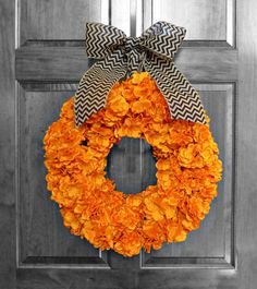 Fall Hydrangea Wreath  Halloween Wreath  Orange by RefinedWreath