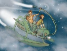 Diane Gronas Illustration Riding Double on a Flying Cricket OCT 2018 Steampunk Illustration Station post 2019
