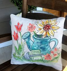 Sunflower Spring Flowers Yellow Flowers Watering Can Pillow Cover Hand-painted Handmade Pillow Cover Handmade Pillow Covers, Handmade Pillows, Diy Pillows, Decorative Pillows, Throw Pillows, Pillow Ideas, Pumpkin Pillows, Accent Pillows, Yellow Flowers