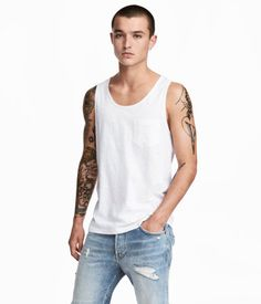 8dc437f6535208 White. Tank top in cotton jersey with a chest pocket. Summer Looks