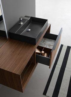 K25, mobile da bagno in legno con lavabo da appoggio nero opaco. A Roma da Realprogetti sas Console, Sink, Ceramics, Bathroom, Home Decor, Black, Powder Room, Rome, Sink Tops
