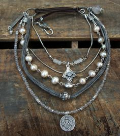 Gray and Pearl Five Strand Sterling Silver by AmbivalentGypsy, $150.00